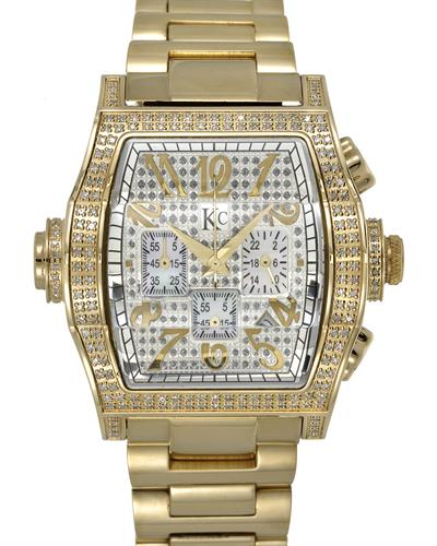 Techno Com by KC Brand New Japan Quartz date Watch with 1ctw of Precious Stones - diamond and mother of pearl