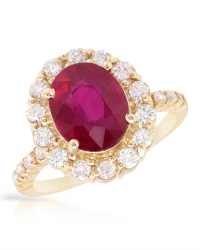 Brand New Ring with 6.49ctw of Precious Stones - diamond and ruby 14K Yellow gold