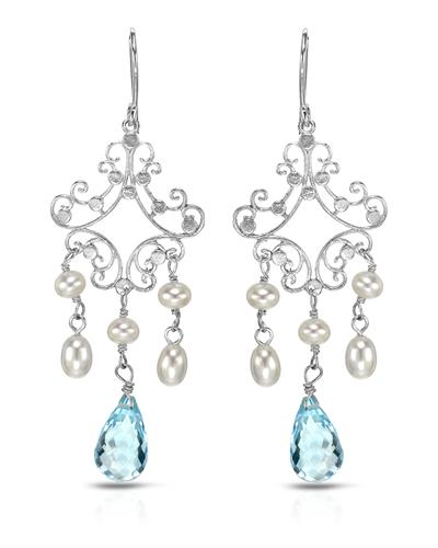 PEARL LUSTRE Brand New Earring with 7ctw of Precious Stones - pearl and topaz 925 Silver sterling silver