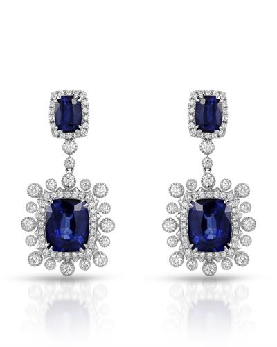 Julius Rappoport Brand New Earring with 22.19ctw of Precious Stones - diamond and sapphire 18K White gold