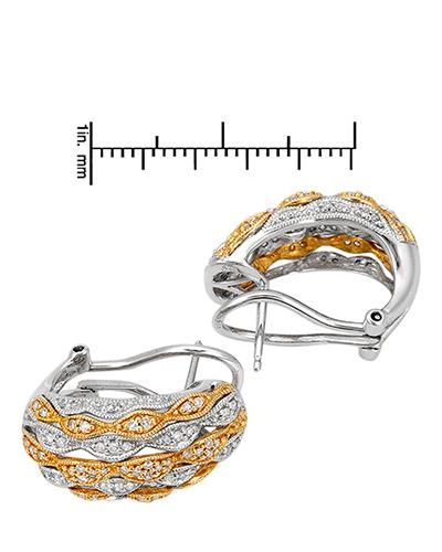 Brand New Earring with 0.58ctw diamond 14K Two tone gold