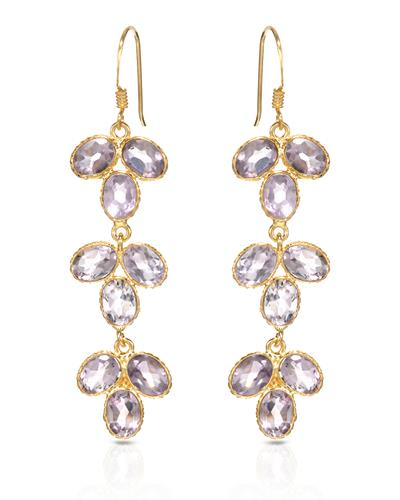Brand New Earring with 13.65ctw amethyst 10K/925 Yellow Gold plated Silver