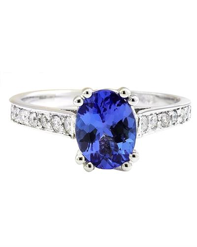Brand New Ring with 1.96ctw of Precious Stones - diamond and tanzanite 14K White gold