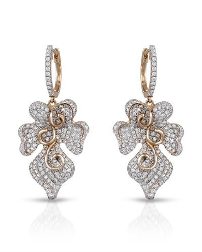Julius Rappoport Brand New Earring with 2.38ctw diamond 18K Rose gold