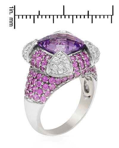 Brand New Ring with 6.89ctw of Precious Stones - amethyst, diamond, and sapphire 18K White gold