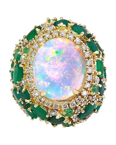 23.55 Carat Natural Opal, Emerald 14K Solid Yellow Gold Diamond Ring