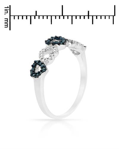 Brand New Ring with 0.04ctw of Precious Stones - diamond and diamond 925 Silver sterling silver
