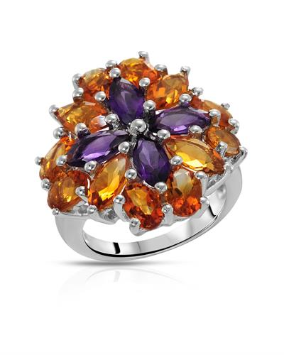 Brand New Ring with 7.96ctw of Precious Stones - amethyst and citrine 925 Silver sterling silver