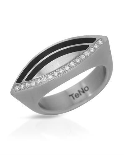 TeNo Brand New Ring with 0.15ctw diamond  Black ceramic and  Metallic Stainless steel