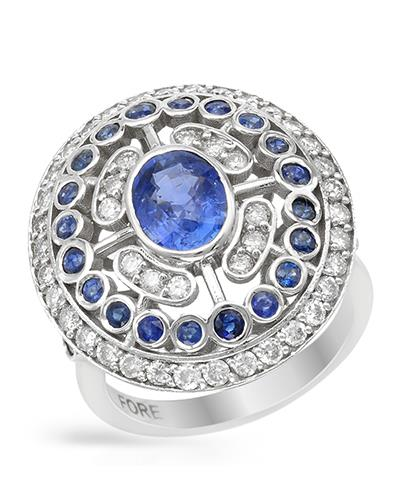 Brand New Ring with 3.65ctw of Precious Stones - diamond, sapphire, and sapphire 14K White gold