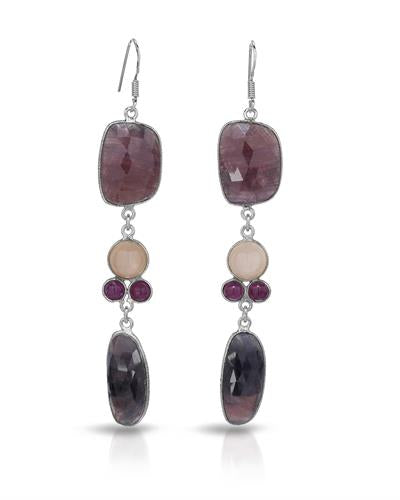 Brand New Earring with 68.46ctw of Precious Stones - moonstone, ruby, and sapphire 925 Silver sterling silver