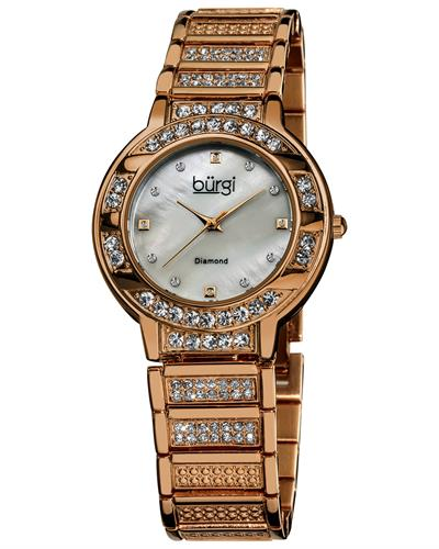 burgi BUR067RG Brand New Japan Quartz date Watch with 0.02ctw of Precious Stones - crystal, diamond, and mother of pearl
