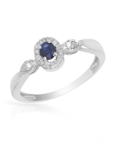 Brand New Ring with 0.25ctw of Precious Stones - diamond and sapphire 925 Silver sterling silver