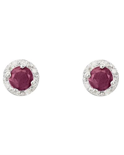 Brand New Earring with 1.42ctw of Precious Stones - diamond and ruby 925 Silver sterling silver