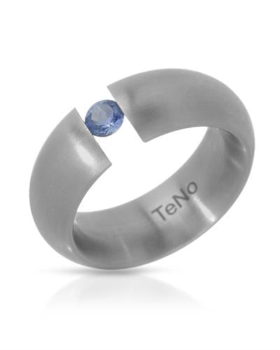 TeNo Brand New Ring with 0.23ctw sapphire  Metallic Stainless steel