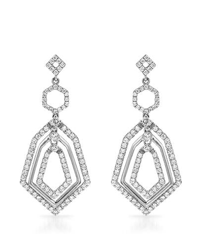 Brand New Earring with 1.01ctw diamond 18K White gold