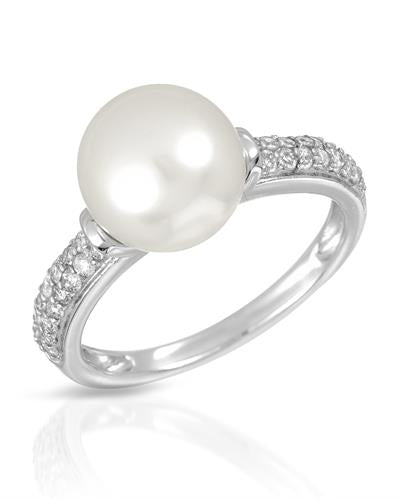 Magnolia Brand New Ring with 0.33ctw of Precious Stones - diamond and pearl 14K White gold