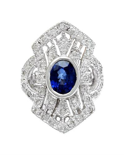 2.73 Carat Natural Sapphire 14K Solid White Gold Diamond Ring
