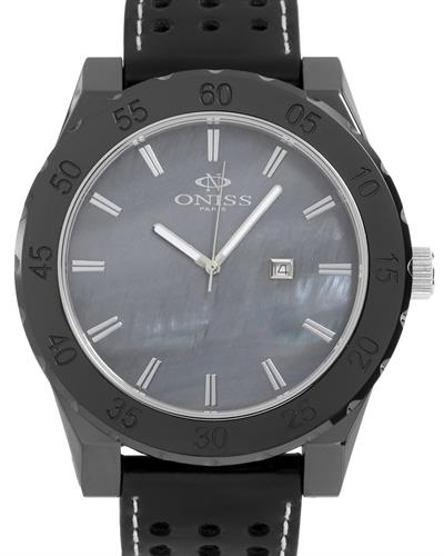 Oniss ON8174-MBK/BKL Paris Brand New Swiss Quartz date Watch with 0ctw mother of pearl