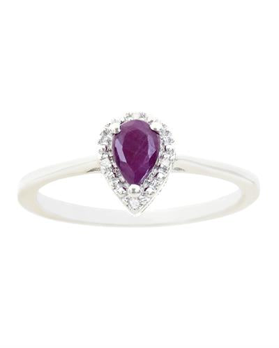 Brand New Ring with 0.46ctw of Precious Stones - diamond and ruby 925 Silver sterling silver