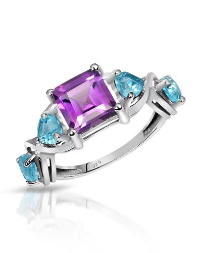 Brand New Ring with 2.95ctw of Precious Stones - amethyst and topaz 925 Silver sterling silver