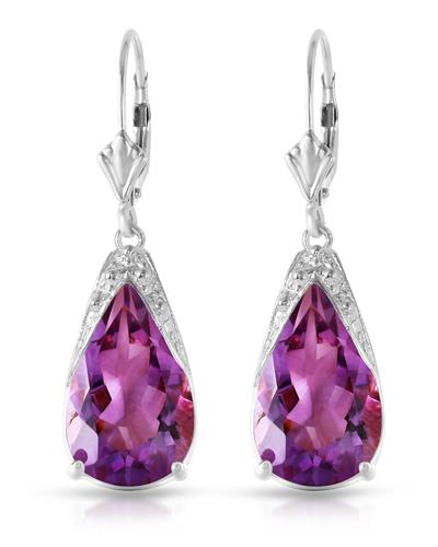 Magnolia Brand New Earring with 10ctw amethyst 14K White gold