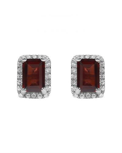 Brand New Earring with 1.8ctw of Precious Stones - garnet and topaz 925 White sterling silver