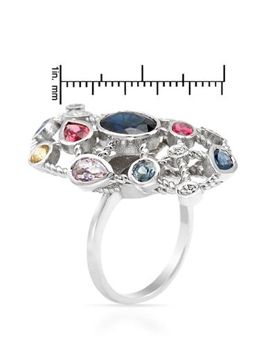 Brand New Ring with 6.65ctw of Precious Stones - diamond, sapphire, and sapphire 14K White gold