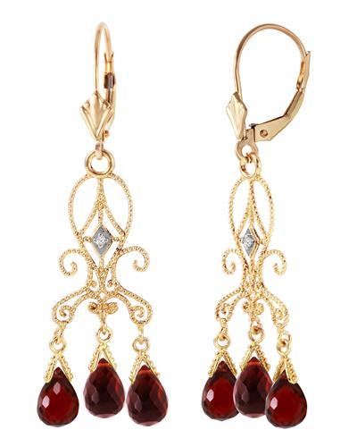 Magnolia Brand New Earring with 6.29ctw of Precious Stones - diamond and garnet 14K Yellow gold