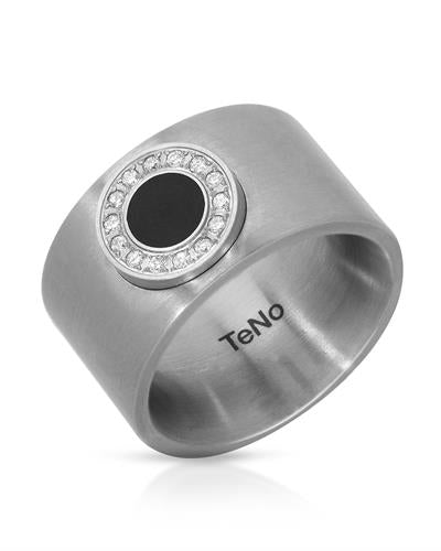 TeNo Brand New Ring with 0.12ctw diamond  Black ceramic and  Metallic Stainless steel
