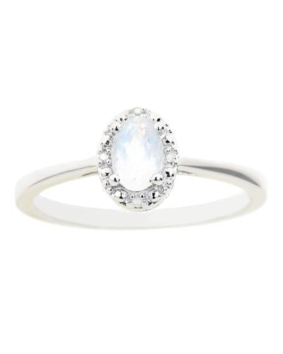 Brand New Ring with 0.55ctw of Precious Stones - diamond and moonstone 925 Silver sterling silver