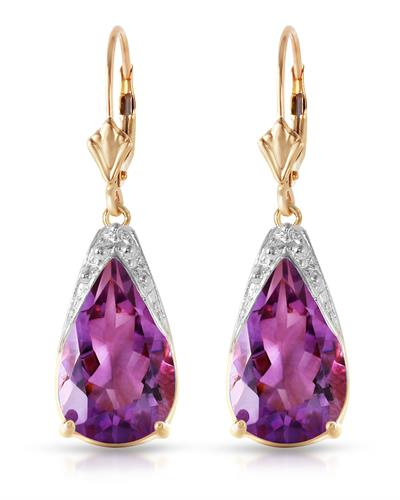 Magnolia Brand New Earring with 10ctw amethyst 14K Yellow gold