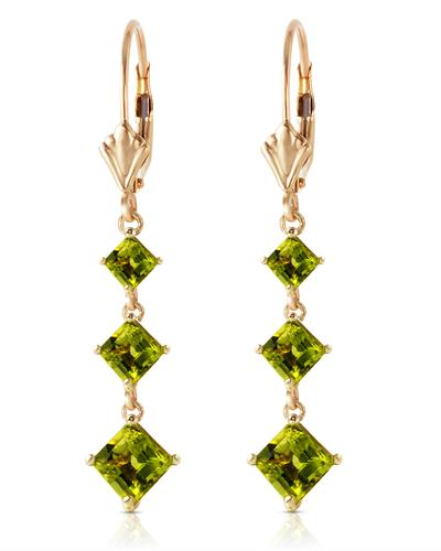 Magnolia Brand New Earring with 4.79ctw peridot 14K Yellow gold