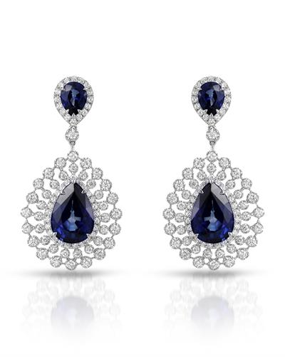 Julius Rappoport Brand New Earring with 18.46ctw of Precious Stones - diamond and sapphire 18K White gold