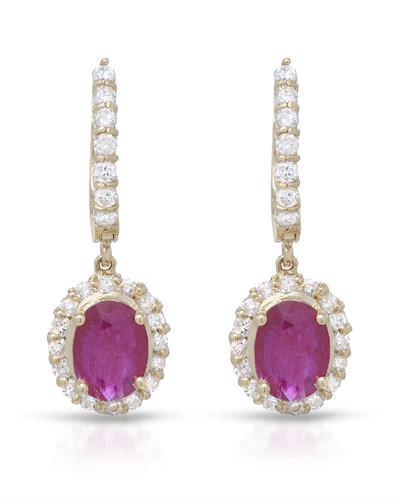Lundstrom Brand New Earring with 3.35ctw of Precious Stones - diamond and ruby 14K Yellow gold