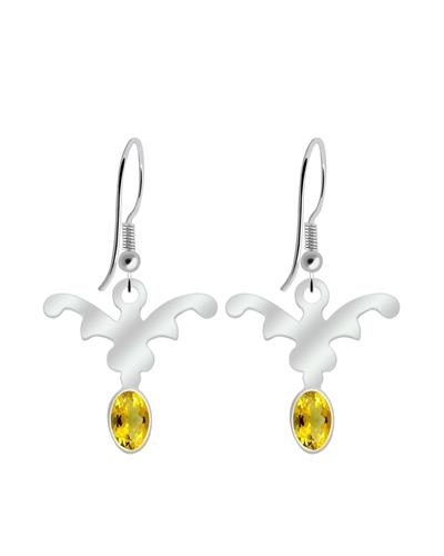 Brand New Earring with 0.9ctw citrine 925 Silver sterling silver