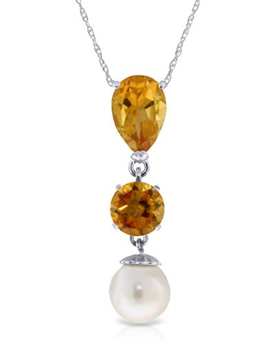 Magnolia Brand New Necklace with 2.75ctw of Precious Stones - citrine and pearl 14K White gold