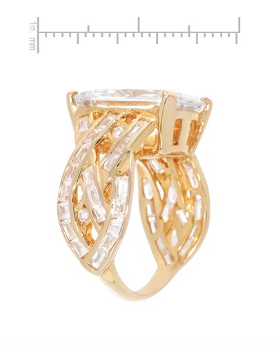 Brand New Ring with 0ctw of Precious Stones - cubic zirconia and cubic zirconia 14K/925 Yellow Gold plated Silver