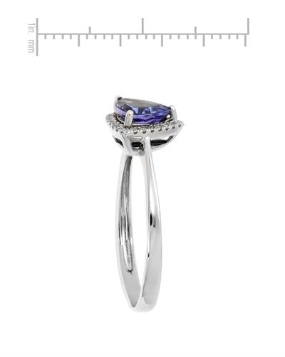 Brand New Ring with 0.89ctw of Precious Stones - diamond and tanzanite 14K White gold