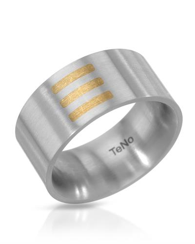 TeNo Brand New Ring 18K/StSl Two tone stainless steel with gold inlay