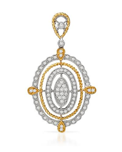 Brand New Pendant with 0.66ctw diamond 18K Two tone gold