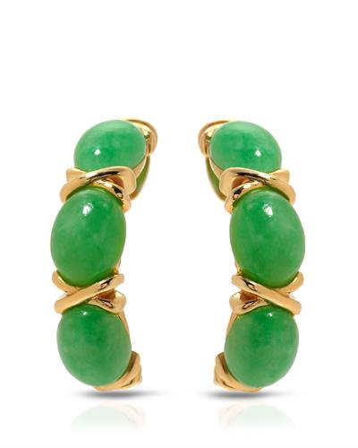 Brand New Earring with 0ctw jade 14K Yellow gold