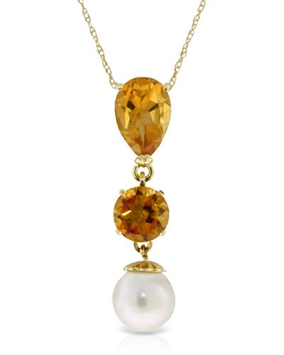 Magnolia Brand New Necklace with 2.75ctw of Precious Stones - citrine and pearl 14K Yellow gold