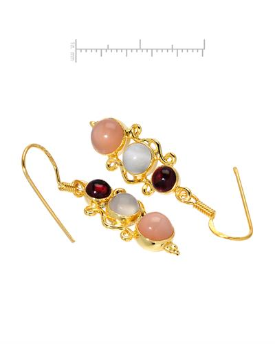 Brand New Earring with 6.65ctw of Precious Stones - garnet and moonstone 10K/925 Yellow Gold plated Silver
