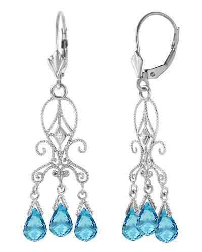 Magnolia Brand New Earring with 4.81ctw of Precious Stones - diamond and topaz 14K White gold