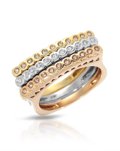 Lundstrom Brand New Ring with 0.35ctw diamond 14K Three tone gold
