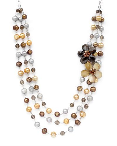 PEARL LUSTRE Brand New Necklace with 99.5ctw of Precious Stones - mother of pearl, pearl, and topaz 925 Silver sterling silver
