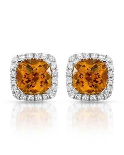 Lundstrom Brand New Earring with 3.78ctw of Precious Stones - citrine and diamond 14K White gold