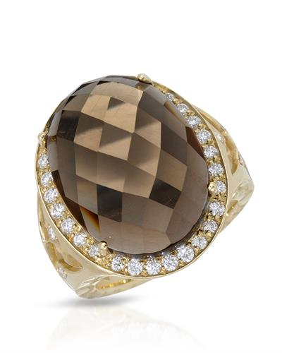 HELLMUTH Brand New Ring with 13.19ctw of Precious Stones - diamond and quartz 18K Yellow gold