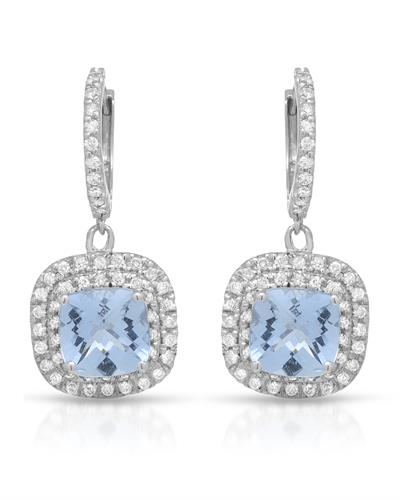 Lundstrom Brand New Earring with 5ctw of Precious Stones - aquamarine and diamond 14K White gold